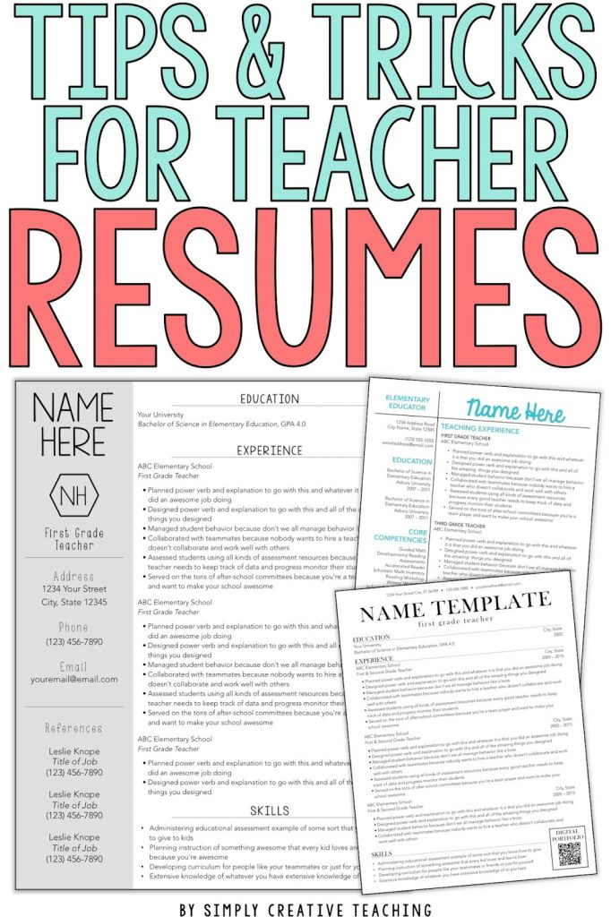 Teacher Resume Tips Tricks Simply Creative Teaching