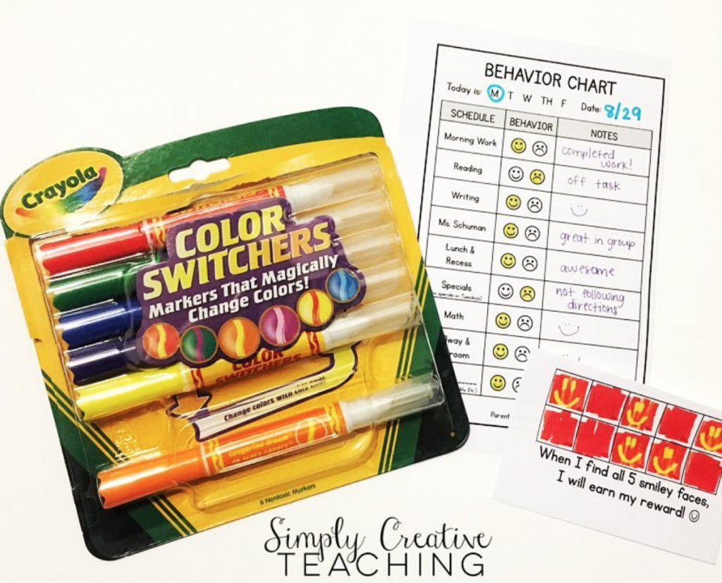 magic markers with behavior charts