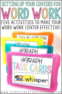 task cards and activities for phonics word work