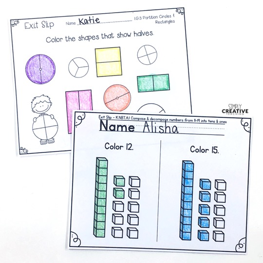 Exit tickets example