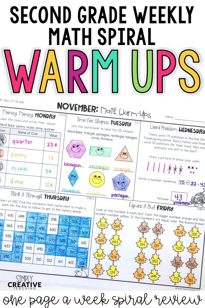 2nd grade weekly spiral math warm ups