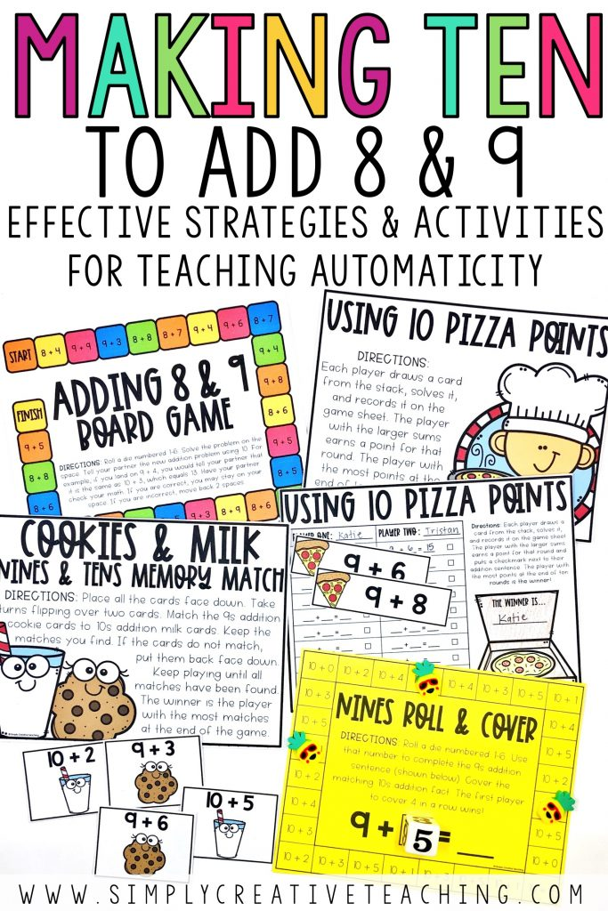 Fact fluency strategies for making ten to add 8 & 9 games