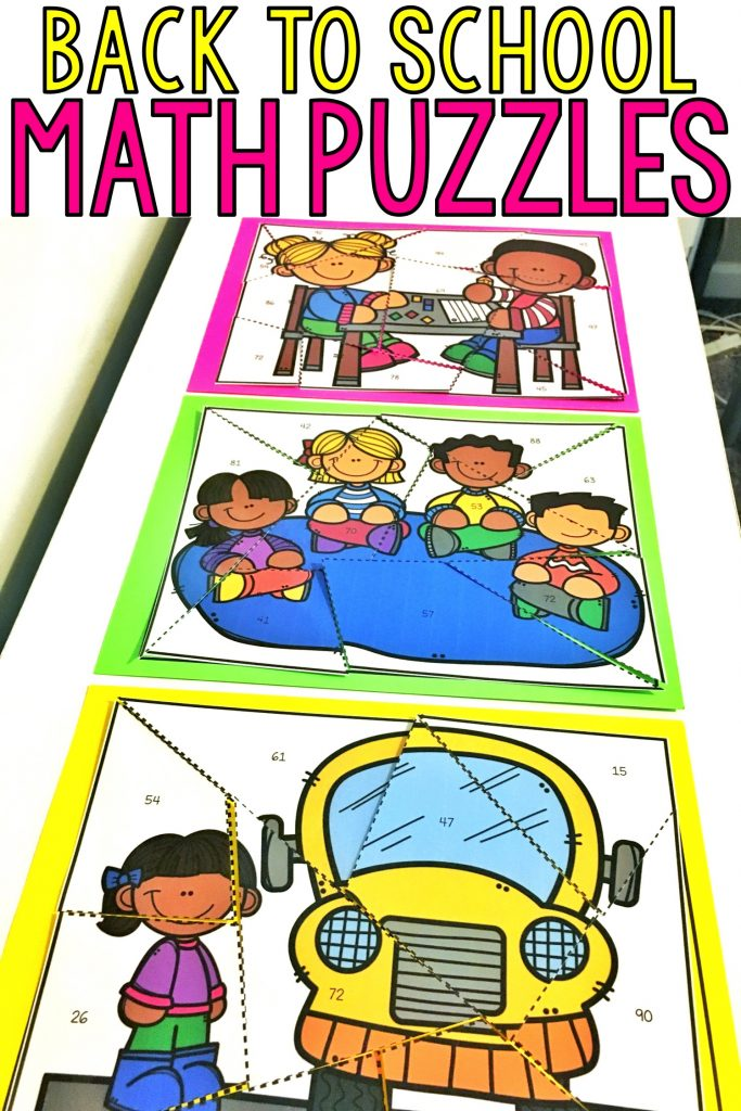 These differentiated back to school math puzzles for kids: 1st grade, 2nd grade, or 3rd grade students are fun and easy to cut. They are perfect for small groups or to include in your back to school math centers. These worksheet free math puzzles require students to match answers and problems. Skills included are telling time, skip counting by 5s & 10s, 2-digit addition and subtraction. Students solve the problems to make a themed picture!