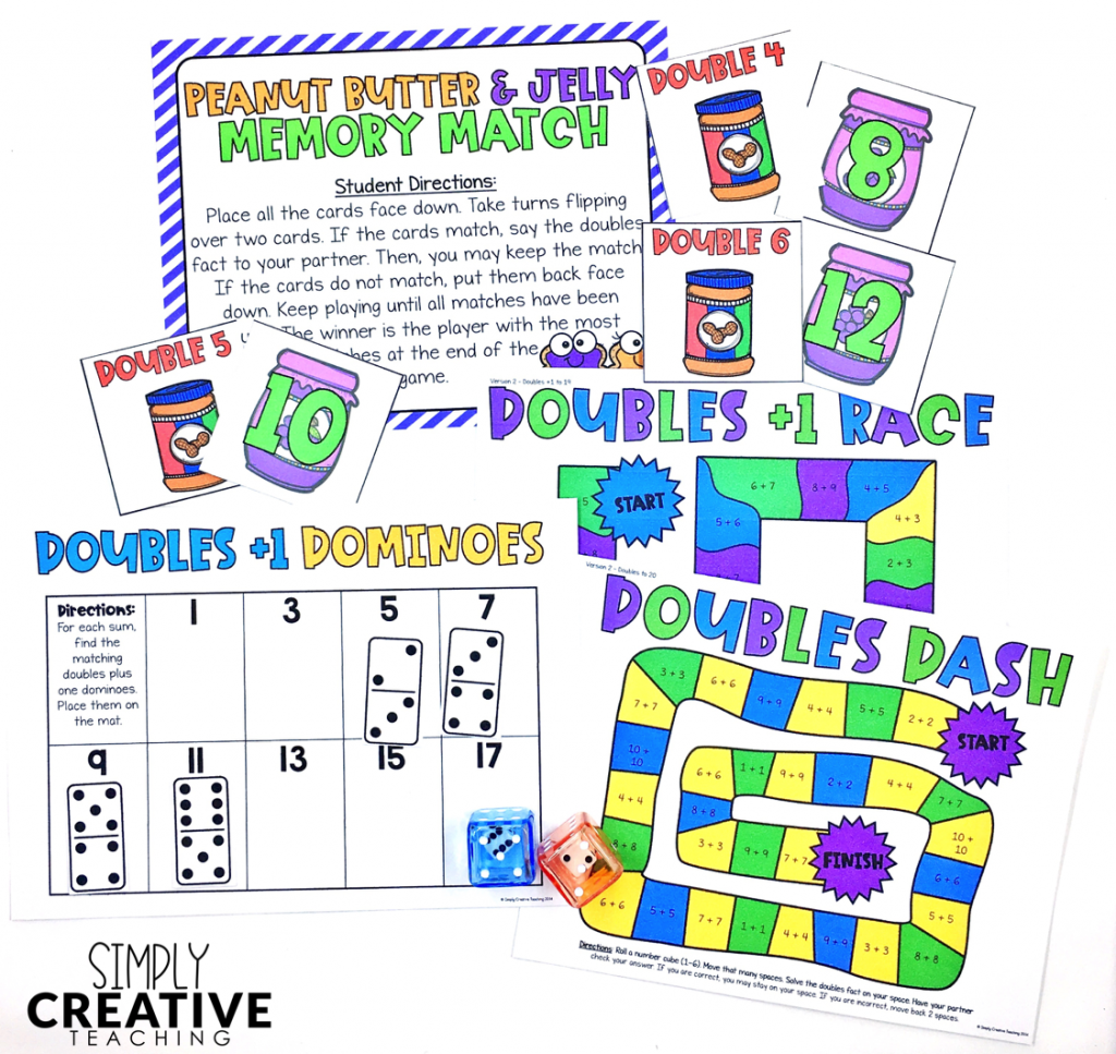 Addition fact fluency strategy for doubles and doubles plus one games and activities