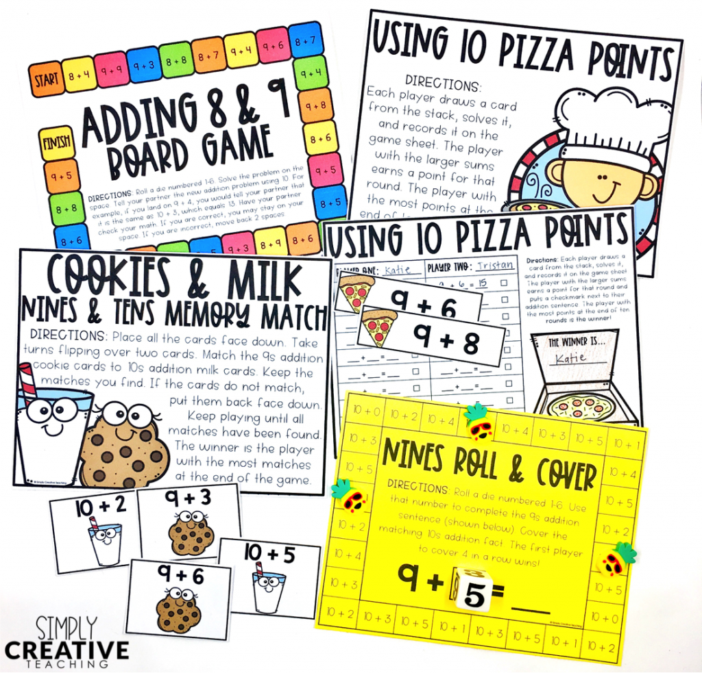 Fact fluency strategies for making 10 to Add 8 & 9 math games and activities