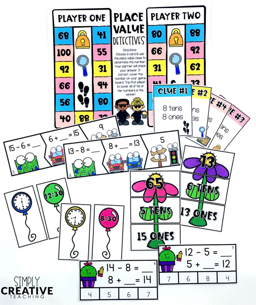 These are examples of 1st grade math centers you can use during your rotations.