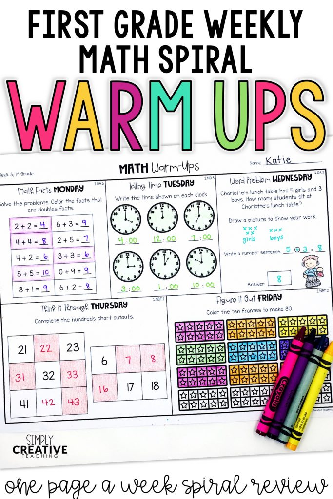 First grade weekly spiral math warm ups