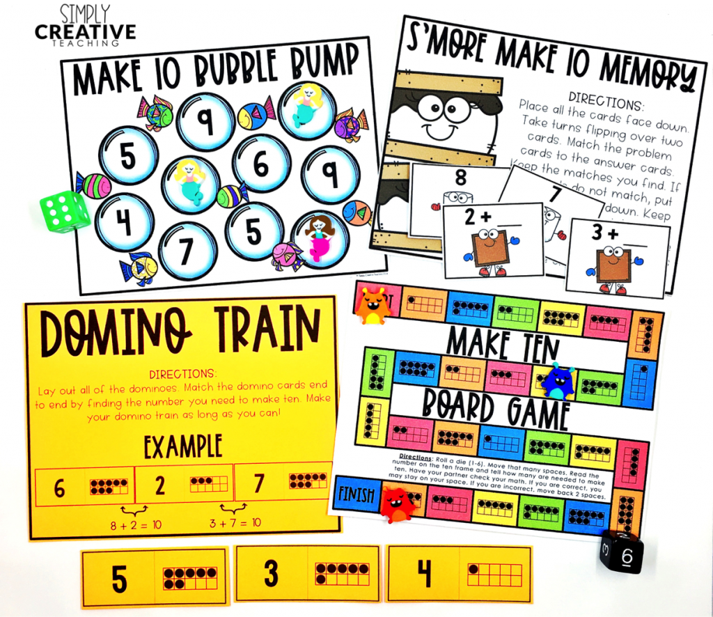 Addition fact fluency strategies for ways to make 10 games and activities for first grade and second grade