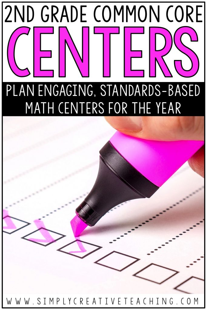 Intro image that says plan engaging, standards-based math centers for the year.