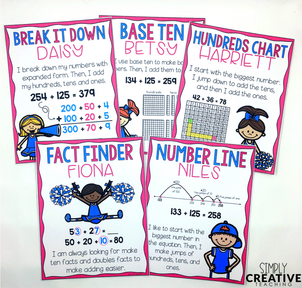 All five math strategy posters for 2-3 digit addition strategies