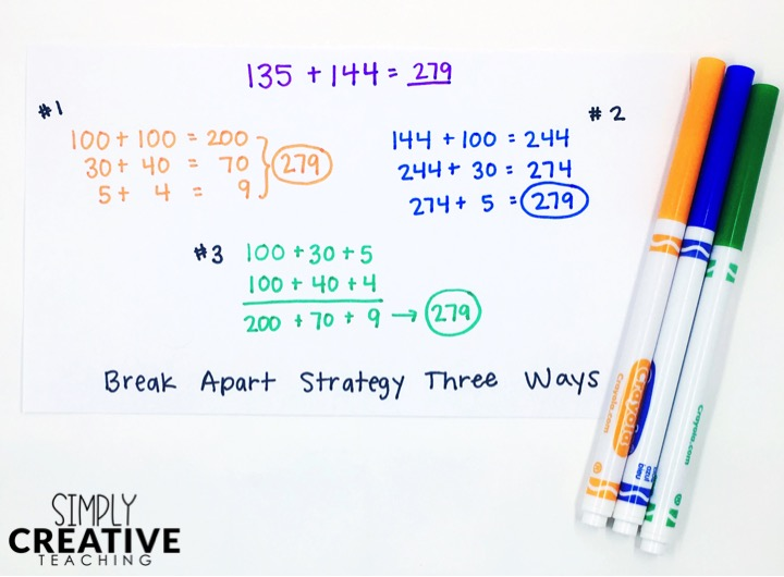 Example of break apart number strategy three different ways
