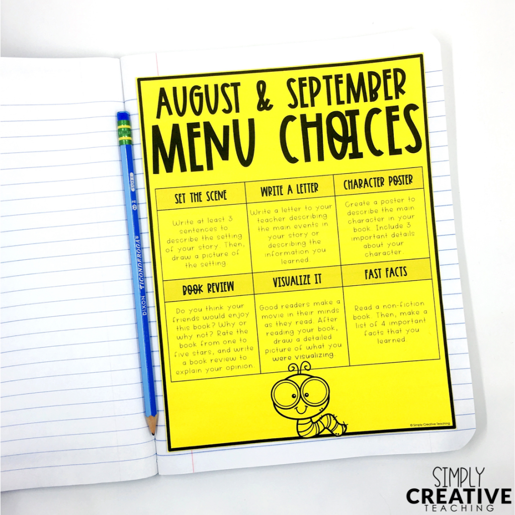 This is a reading monthly menu full of choices for writing about text!