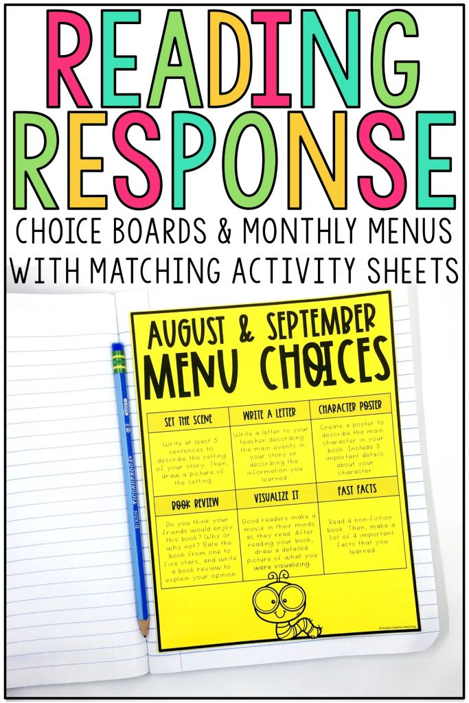 Example choice board and monthly menu with matching activity sheets.