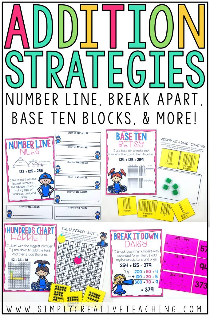 These strategies include number line, break apart, base ten blocks, and more.