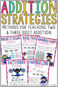 These math centers & math strategies are for Common Core math standards. Students will work on various 2-digit and 3-digit addition strategies such as number lines and decomposing numbers to solve three digit addition and subtraction with regrouping and without regrouping. These student activities and products are designed for 2nd grade students. They are fun and include puzzles, games, and help students use place values to solve 3-digit addition and 3-digit subtraction.