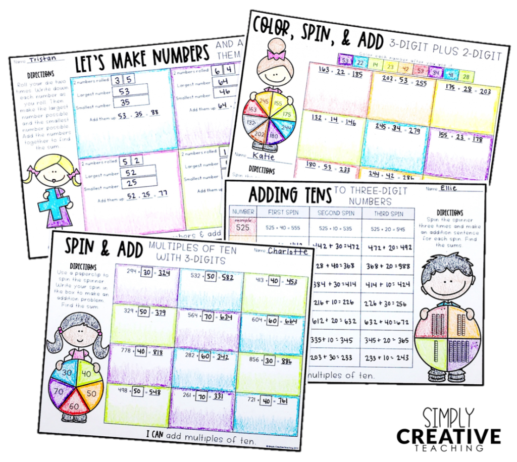 These are 4 addition worksheets for independent math activities.