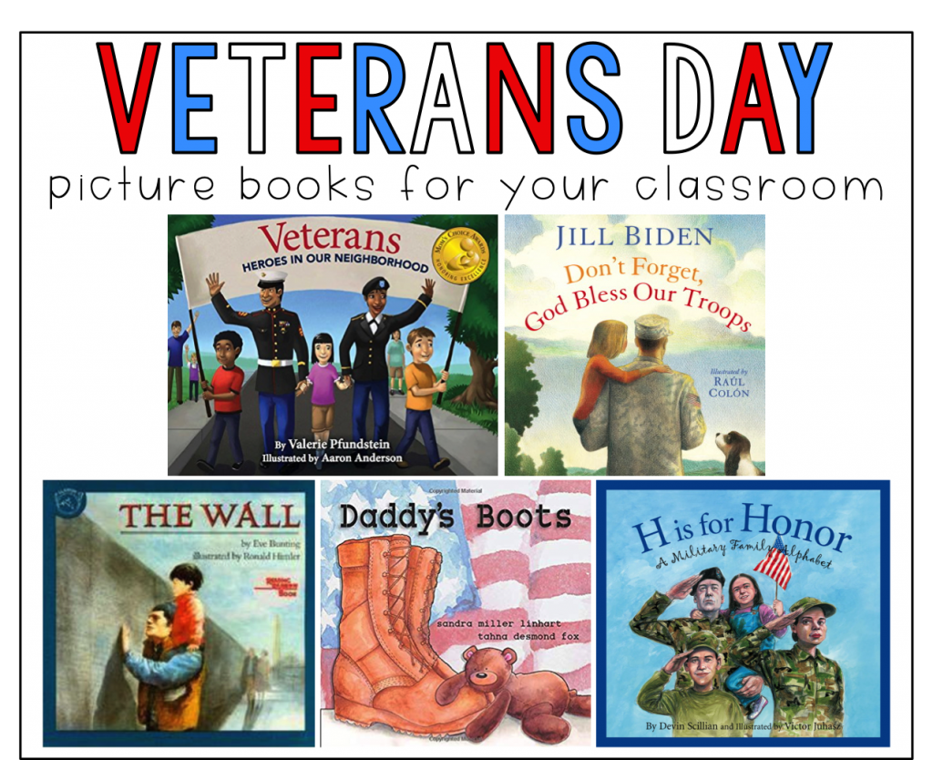 This is a graphic that shows 5 picture books for Veterans Day to use with fall reading and writing activities.