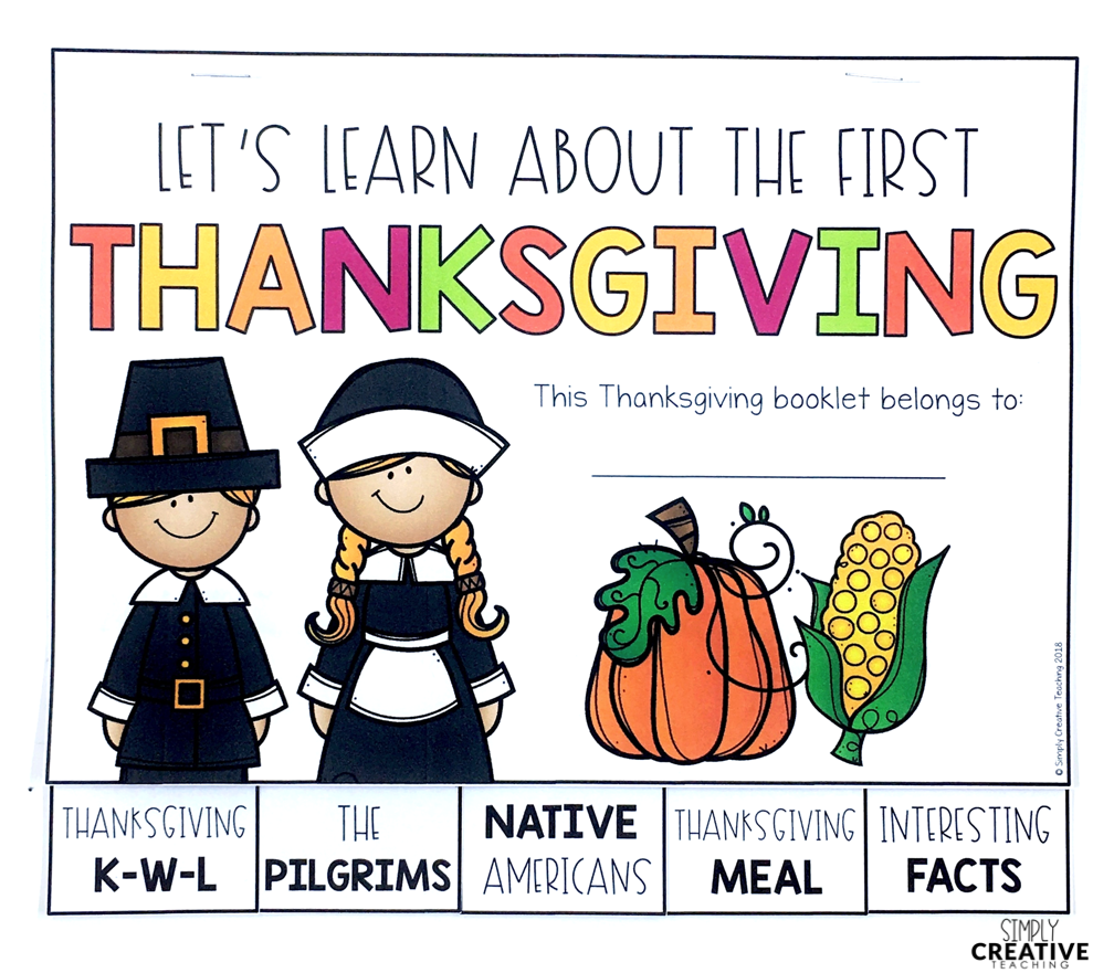 This is a picture of the learning booklet all about the first Thanksgiving.