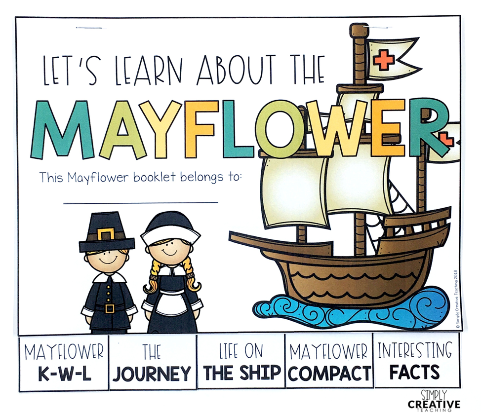 This is a picture of the learning booklet all about the Mayflower.