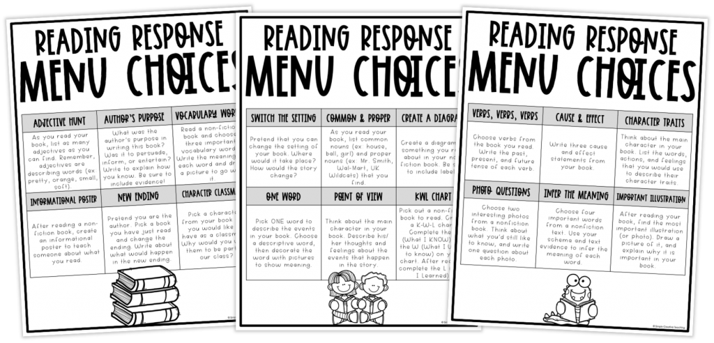 These are generic reading choice boards.