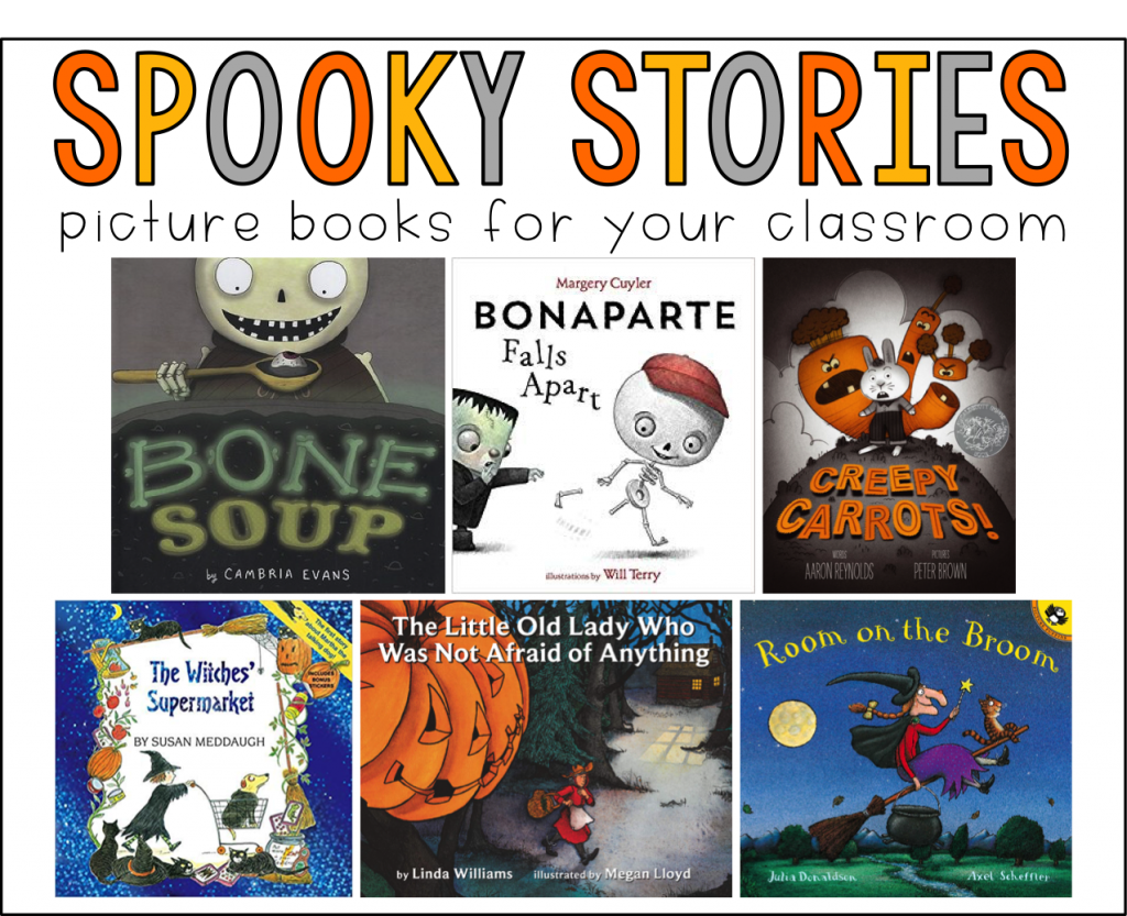 This graphic shows the covers of 7 spooky story picture books you can read to your students to use with fall reading and writing activities.