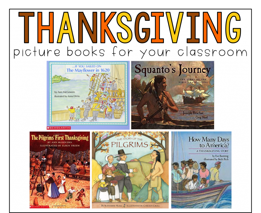 This is a graphic that shows 5 picture books you can use when teaching about Thanksgiving to use with fall reading and writing activities.