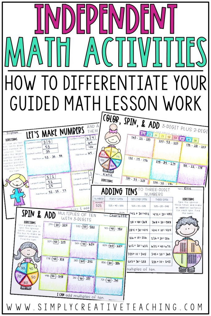 This is a graphic for how to differentiate your guided math lesson work.