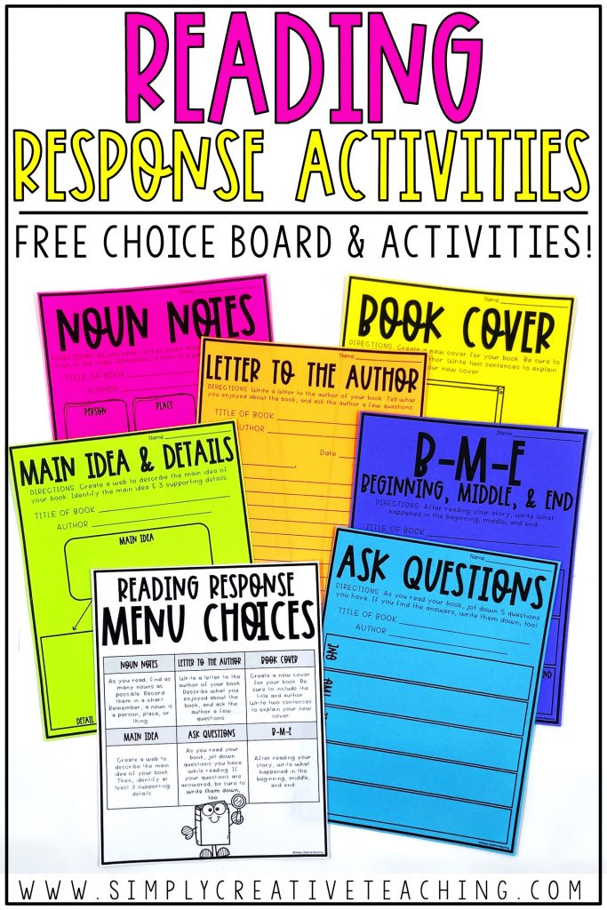 Free choice board and monthly menu with matching activity sheets.