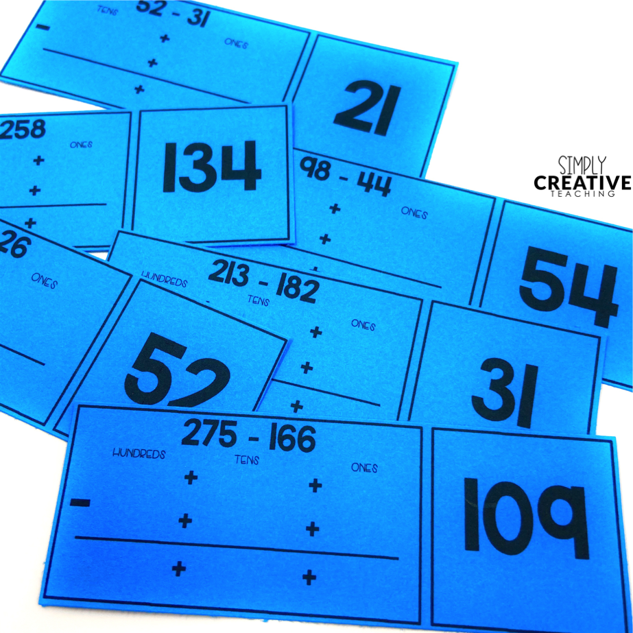 These are math centers for 2-3 digit subtraction.