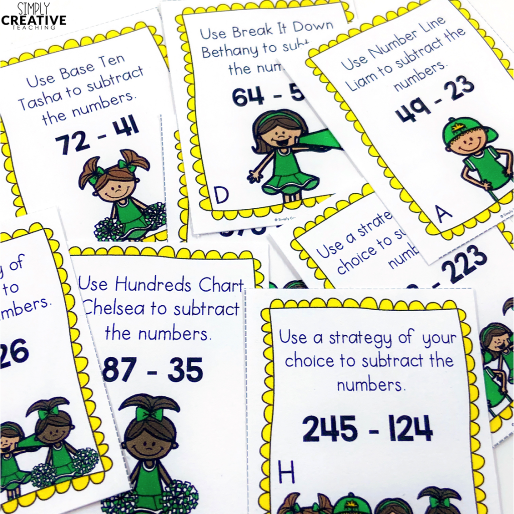 These are task cards for 2-3 digit subtraction strategies.