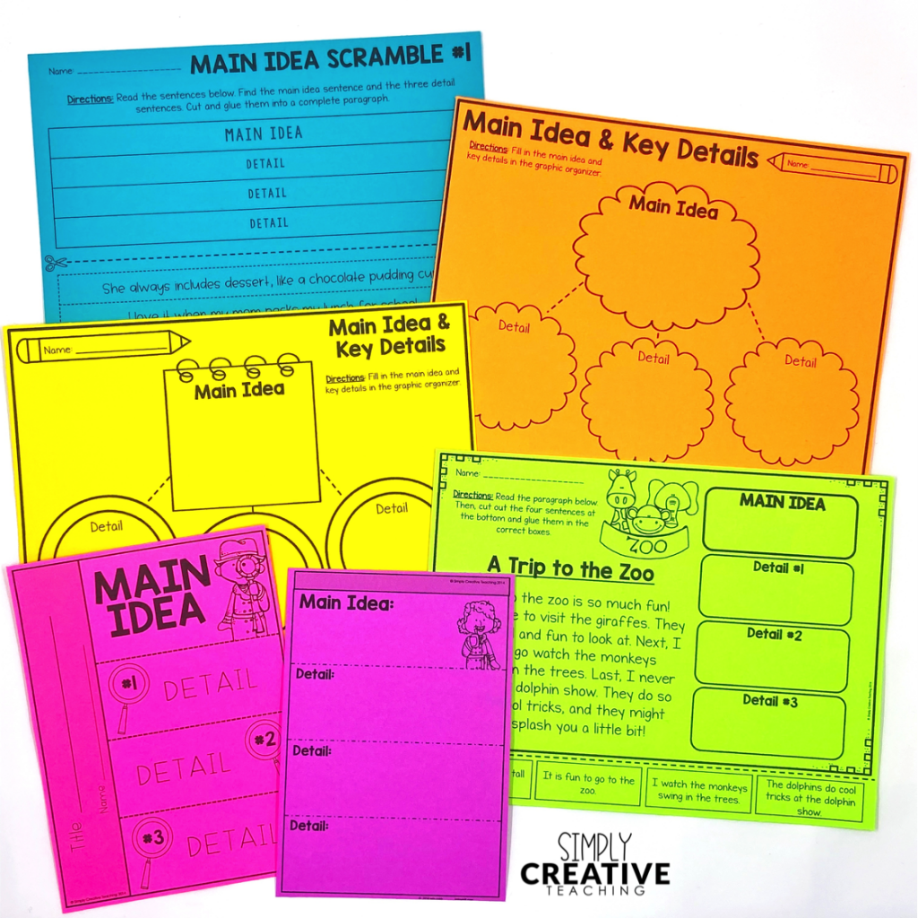 Main idea and details activities, printables, graphic organizers, and interactive notebook pages