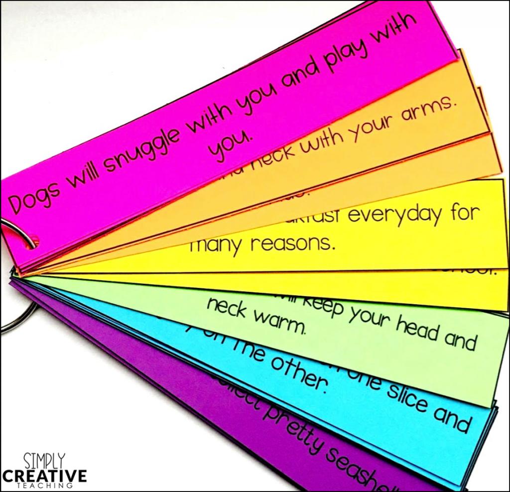 Main idea and details build a paragraph activity