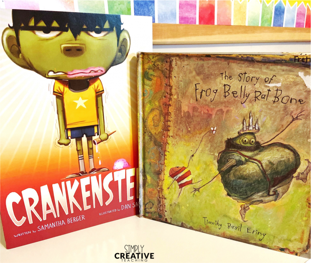 Cover of books titled Crankenstein and The Story of Frog Belly Rat Bone to use with fall reading and writing activities.