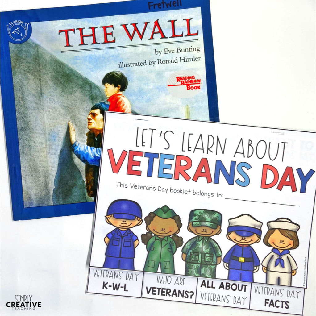 This is a picture of the Veterans Day learning booklet and a picture book.