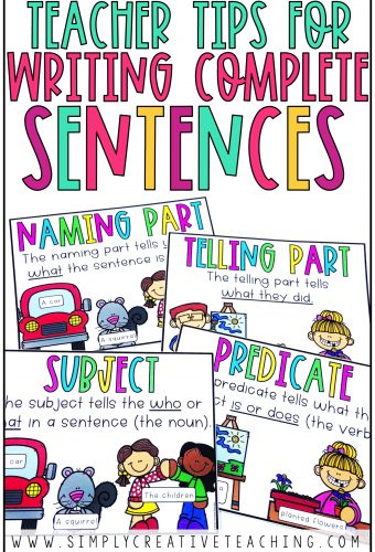 Teacher tips for writing complete sentences