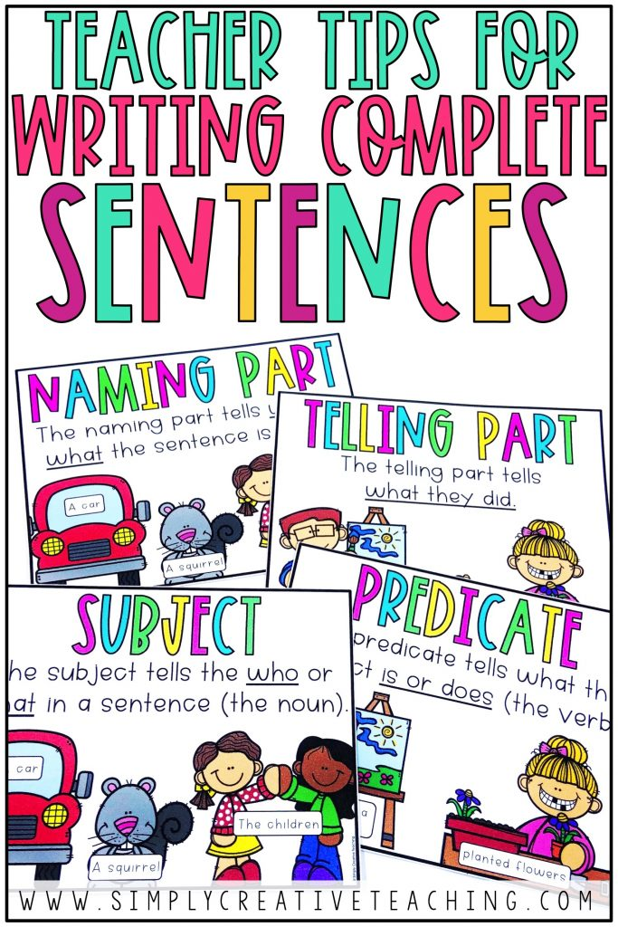 """This graphic says, """"Teacher tips for writing complete sentences."""""""