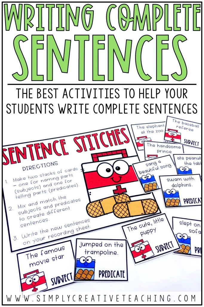 Writing Complete Sentences: The Best Activities to Help Your Students Write Complete Sentences