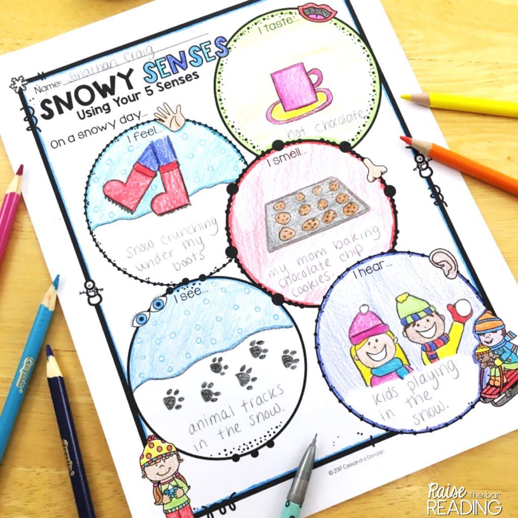 Free December Activities: Snowy Senses worksheet