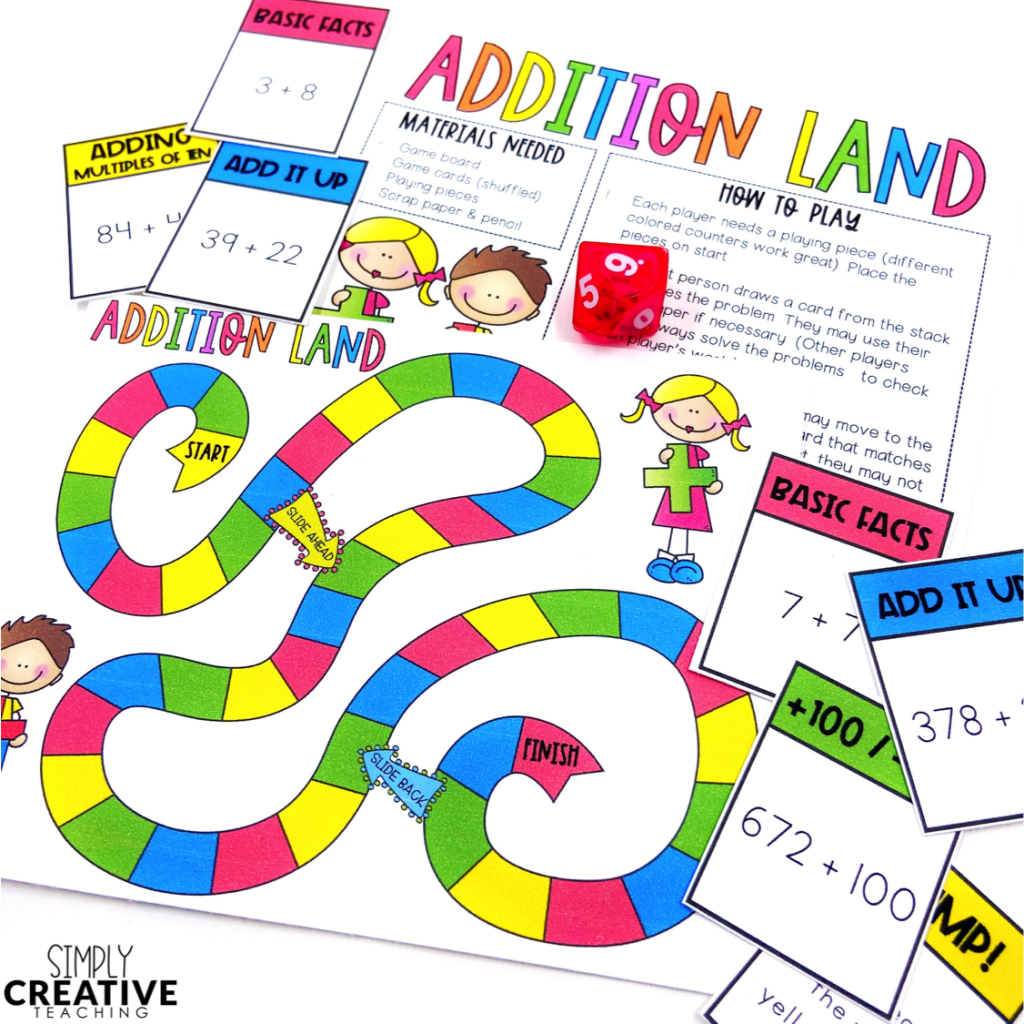 This is an addition math board game.
