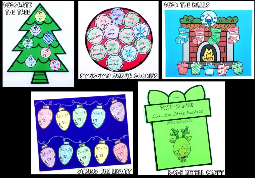 Christmas math & reading activities & crafts