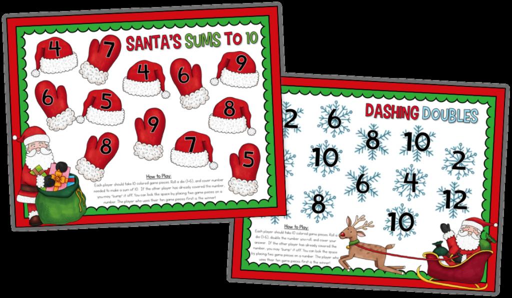 Christmas math board games