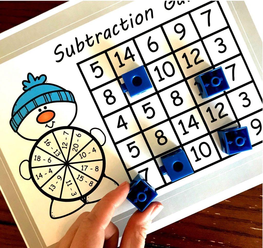Free December Activities: Subtraction game