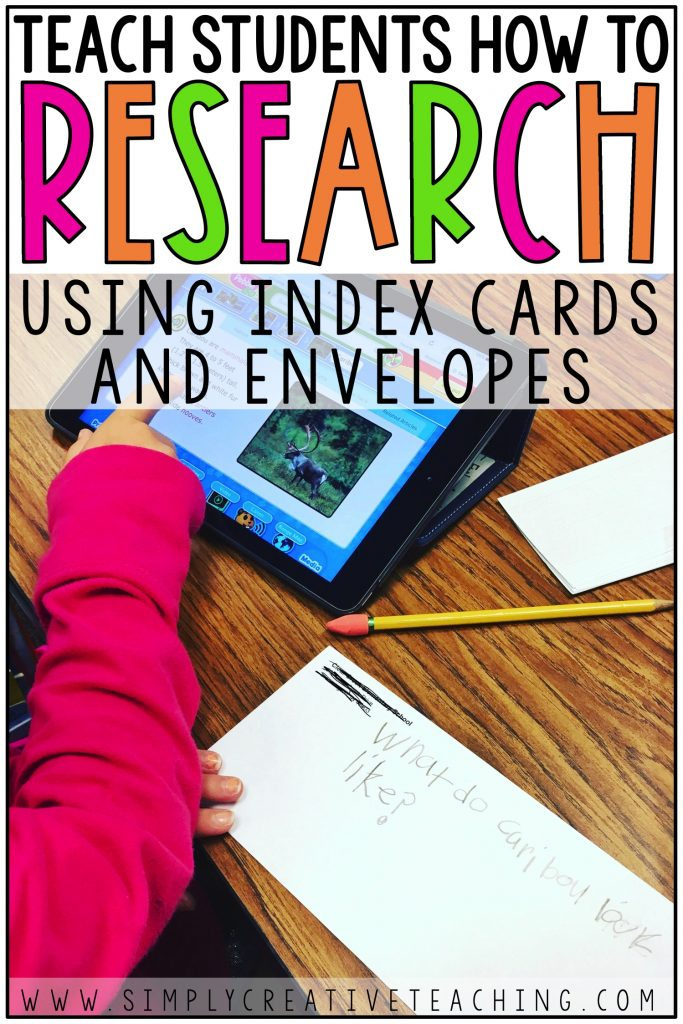 Teaching students how to research using index cards and envelopes