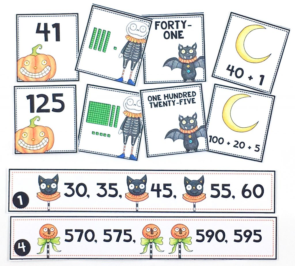Halloween differentiate math centers available in two levels