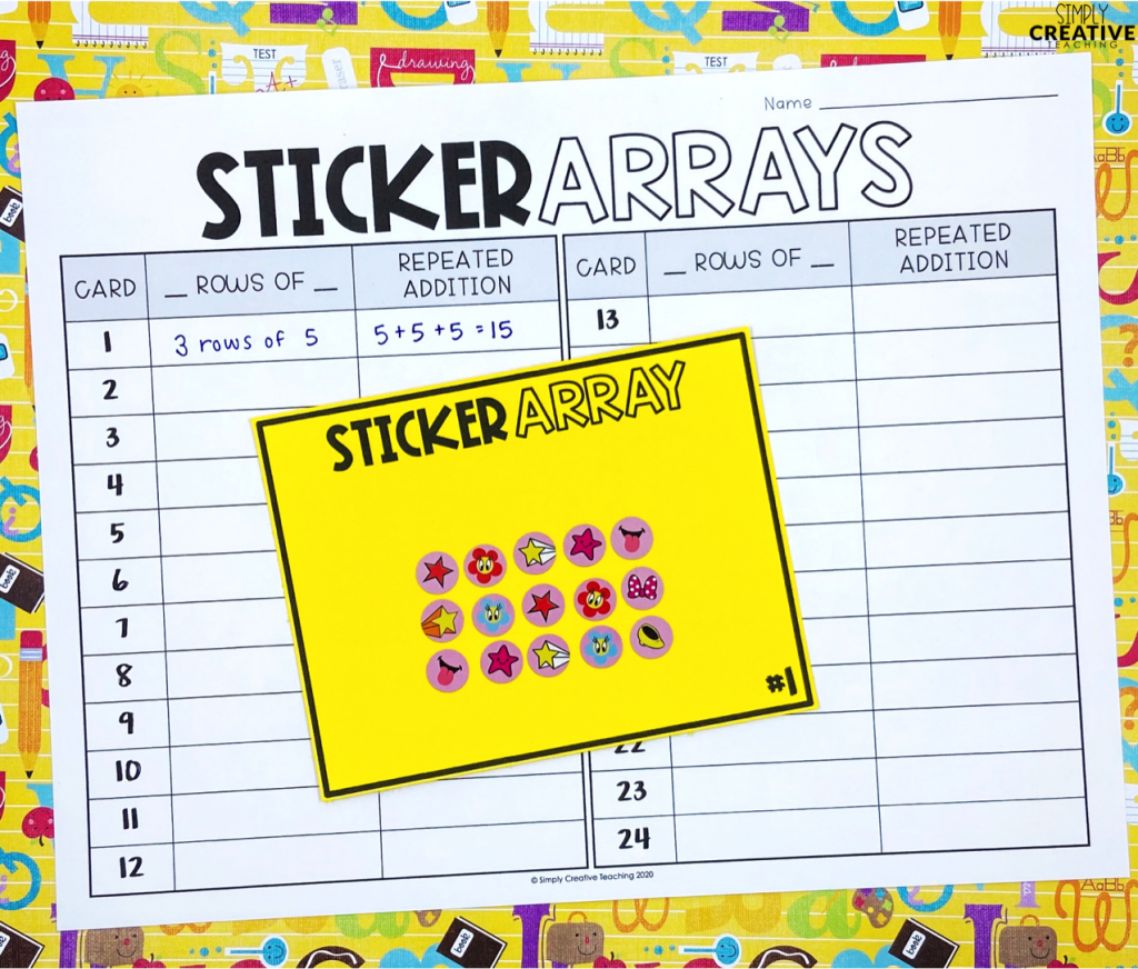 Student created arrays using stickers.