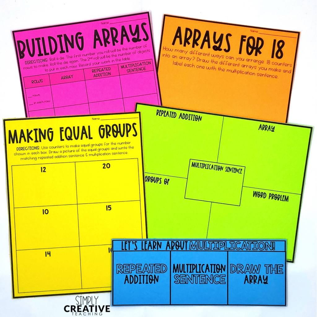 Introduce multiplication with arrays, repeated addition, and equal groups worksheets and printables
