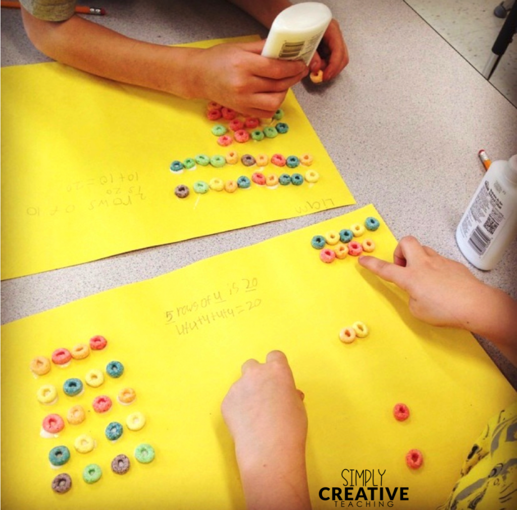 Students make arrays using Froot Loops or other small cereal pieces