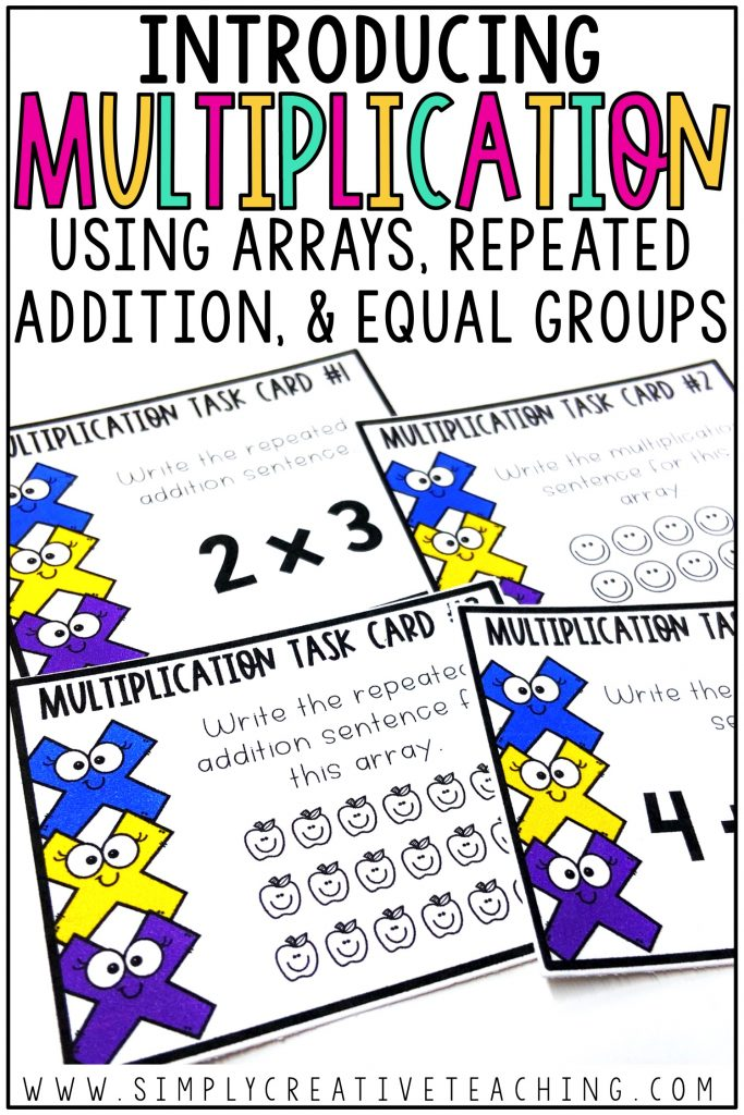 Introduce multiplication with arrays, repeated addition, and equal groups