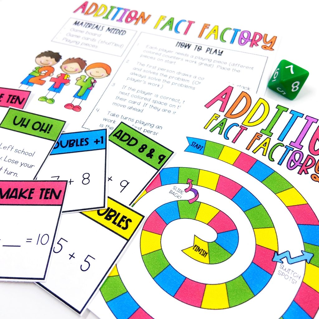 Addition fact factory board game for Fact Fluency Friday
