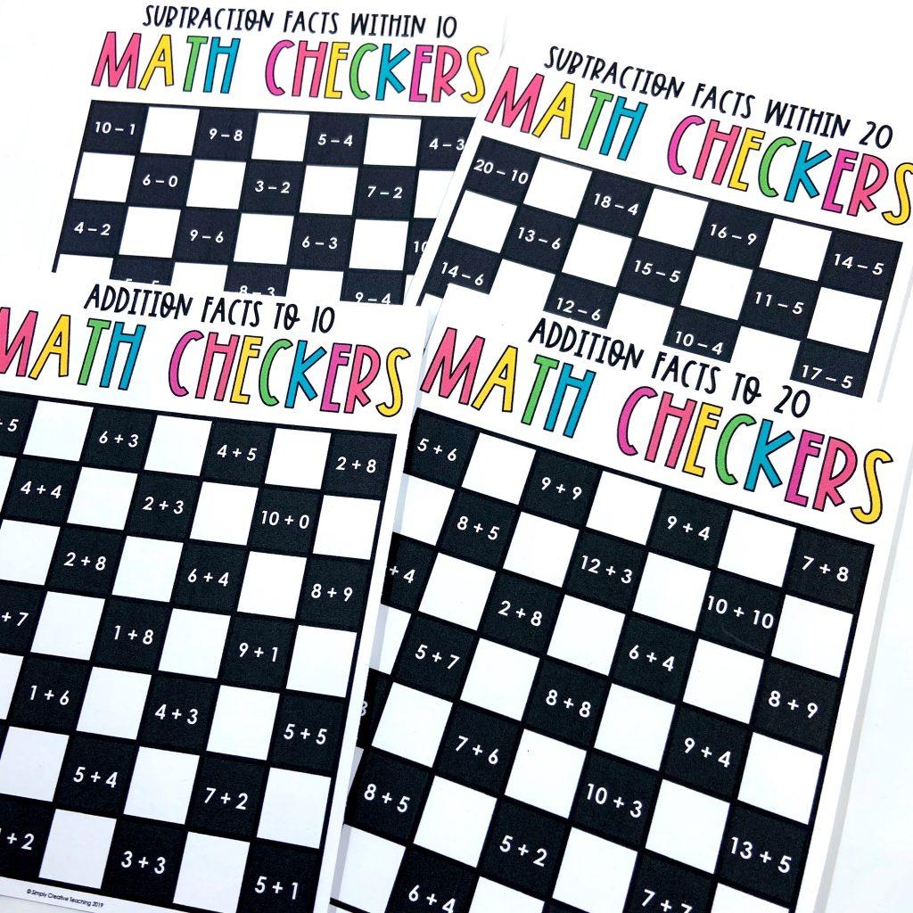 math checkers board games